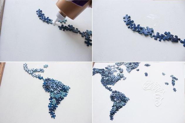 Gluing puzzle pieces along continent shapes.