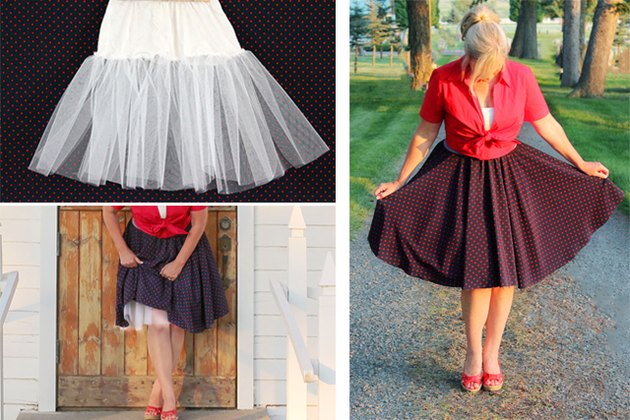 crinoline skirt layered under a polka dot skirt