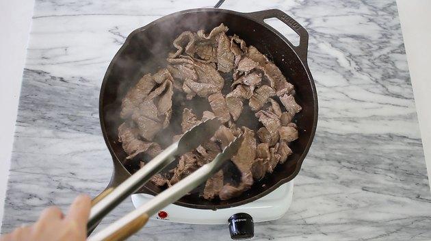 Cooking sliced steak