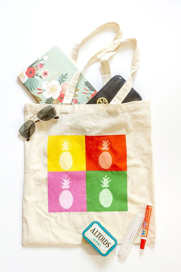 Paint a canvas tote using the same materials.