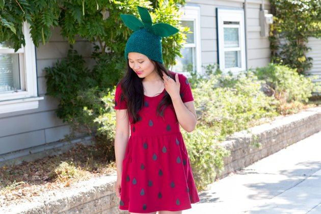 Final no-sew strawberry costume