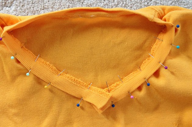 pin neckband to new neckline