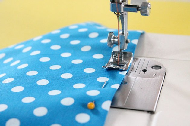 sewing fabric on sewing machine