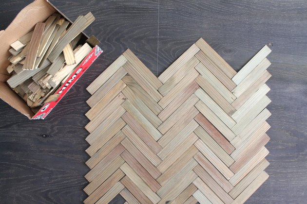 Lay out herringbone pattern with shims
