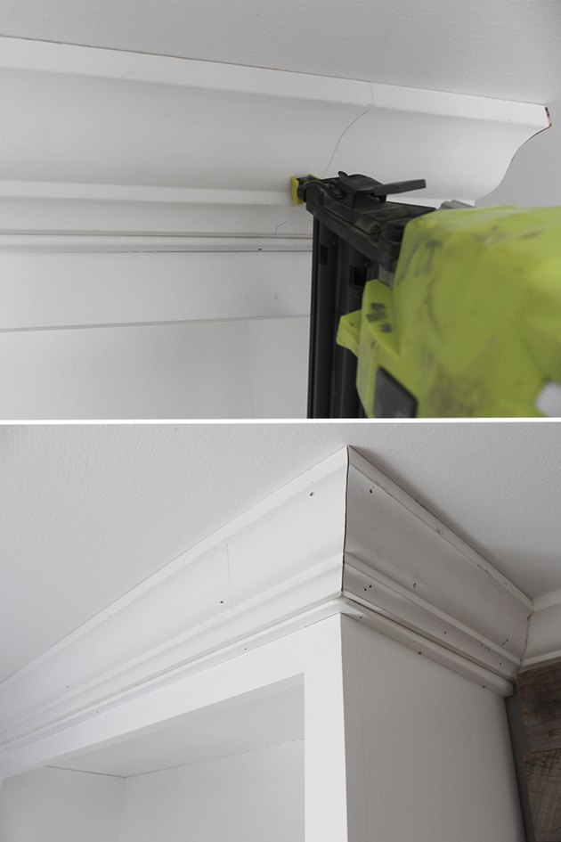 Installing crown molding.