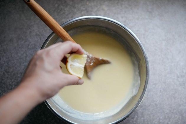 Add in the lemon juice and seasonings.