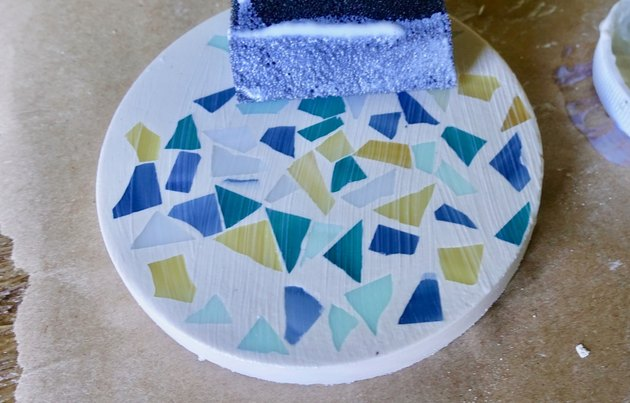 Sealing terrazzo coaster with Mod Podge