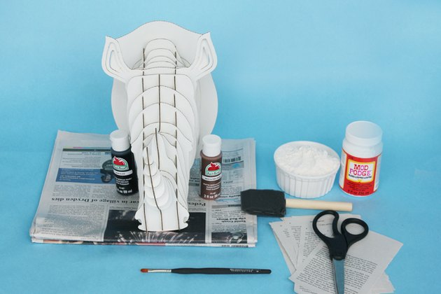 Supplies needed to create a DIY rhino bust.