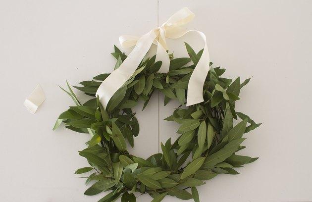 Tie ribbon on wreath
