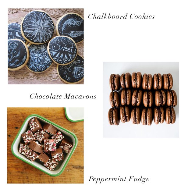 chalkboard cookies, chocolate macarons, peppermint fudge