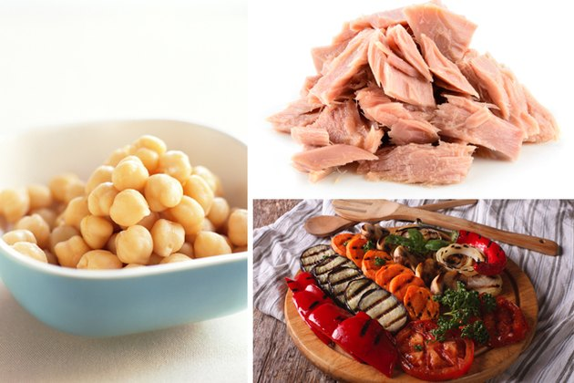 Healthy foods such as chickpeas, tuna and roasted vegetables.