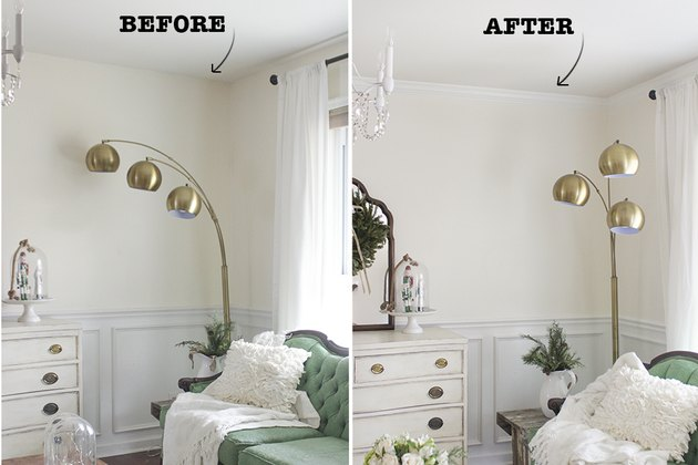 Before and after of room with crown molding.