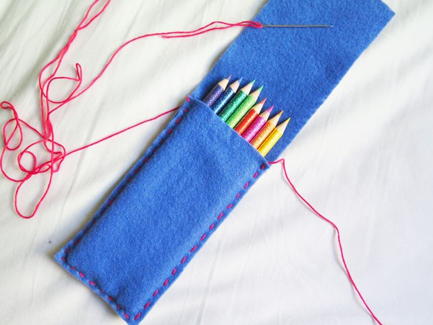 The sewn sides of the felt case