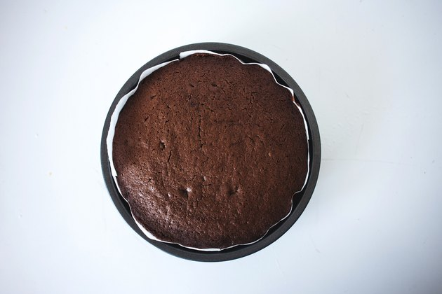 A cake layer cooling in its pan.