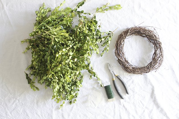 Supplies for boxwood wreath