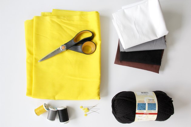 Sewing materials needed for making a minion pillowcase
