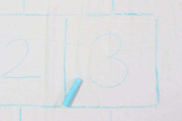 drop cloth numbers chalk outline