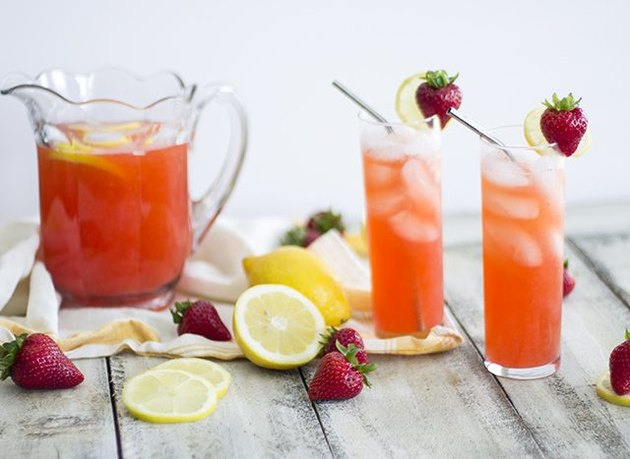 pink lemonade with strawberries