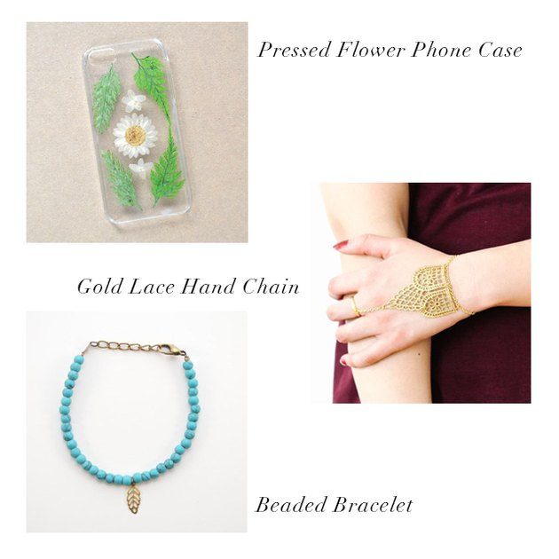 pressed flower phone case, gold lace hand chain, beaded bracelet