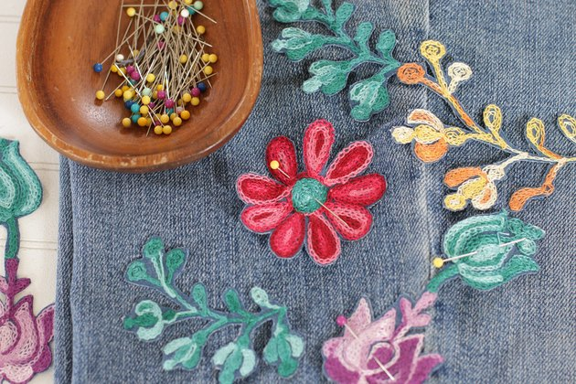 pin embroidery onto jeans
