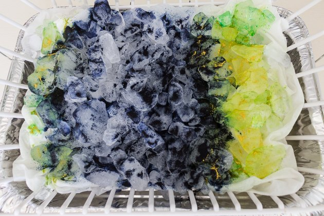 Dye pigments over ice