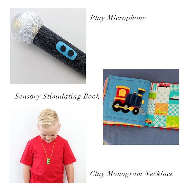 play microphone, sensory book, clay monogram necklace