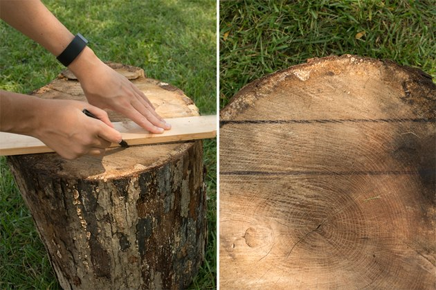 Use the scrap wood piece as a guide to draw your lines.