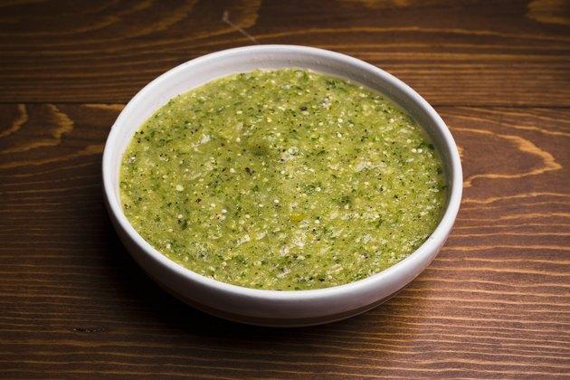 Green tomatillo salsa, ready to serve