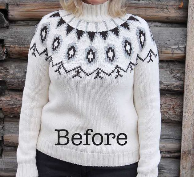 Pullover sweater before conversion