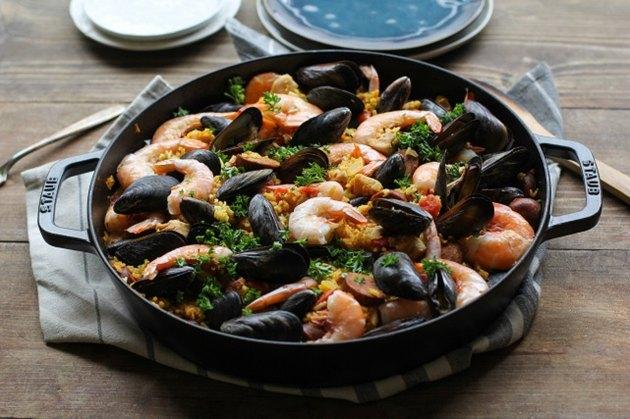 Seafood Paella served in a paella pan