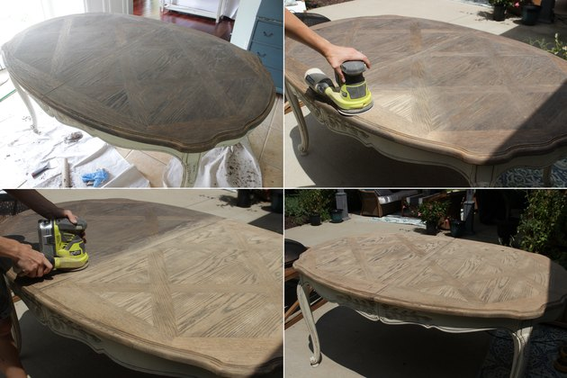 Sanding the table top