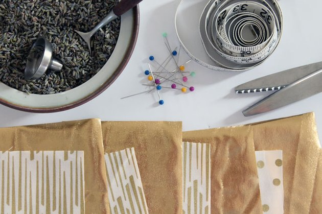 Materials needed to make a lavender sachet.