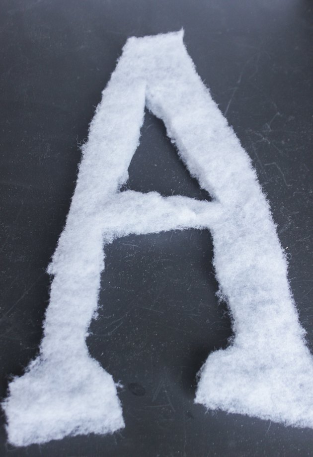 "Polyester batting cut out in a letter ""A"""