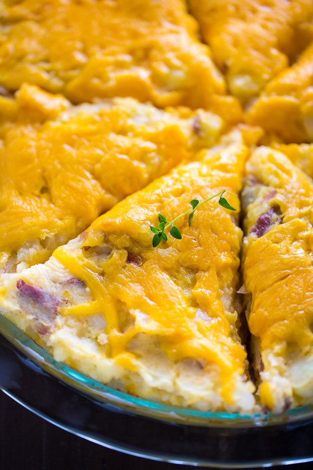 Sliced cheese potato pie