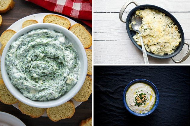 Delicious dips such as spinach and artichoke, and hummus dip.