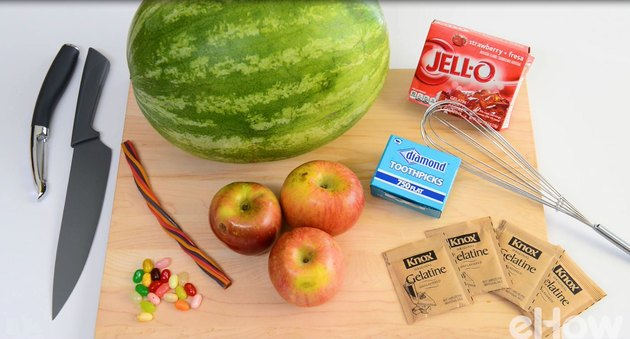 Things you'll need: Watermelon, apples, gelatin and candy.
