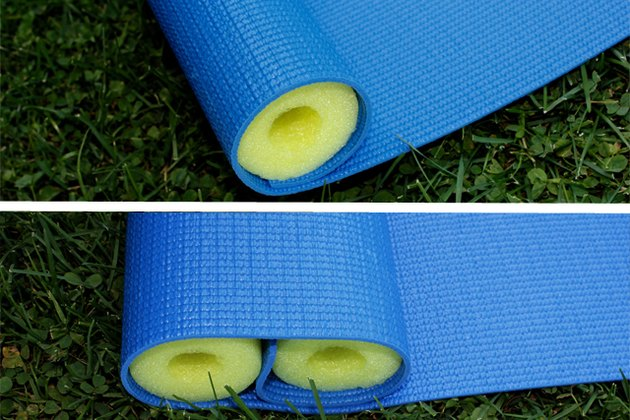 Roll the mat around the two pieces of pool noodle that you just cut.