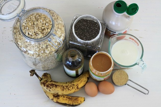 Ingredients for oatmeal protein muffins
