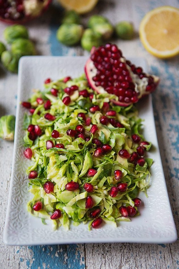 Brussels sprouts salad with pomegranates.