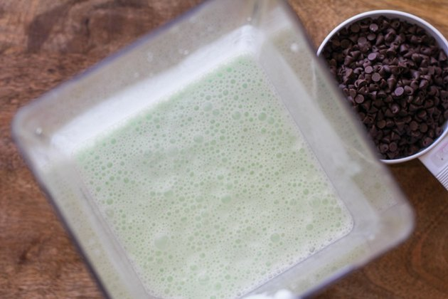 mint ice cream base in a blender