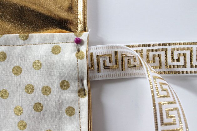 Place ribbon into seam and pin.