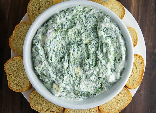 Creamy spinach dip made with feta cheese and Greek yogurt.