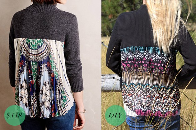 Anthropologie and DIY sweater comparison