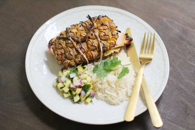 Pineapple plank chicken with rice & pineapple salsa