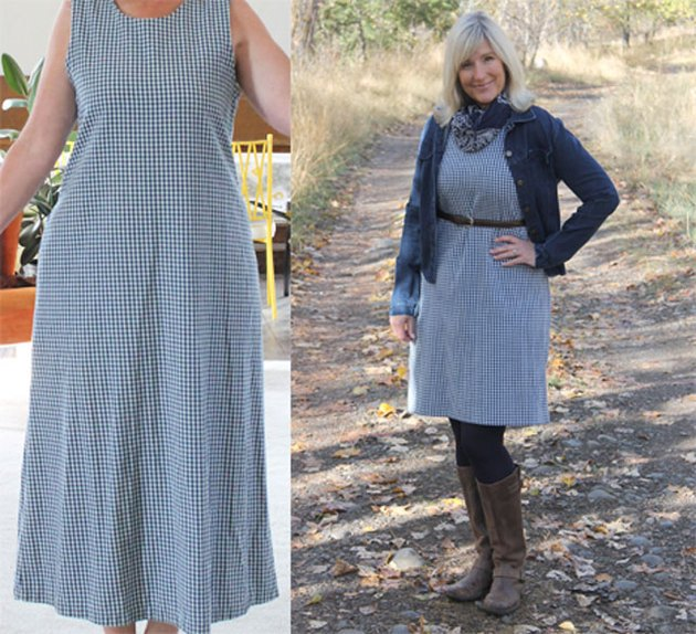 Before and after pictures of dress alteration.