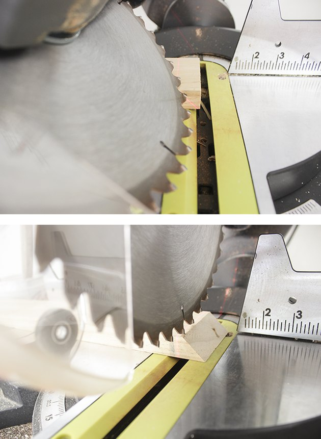 Cutting wood shelf supports with miter saw.