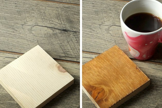 Before and after easy way to stain wood with coffee.