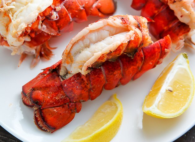 Steamed lobster tails.