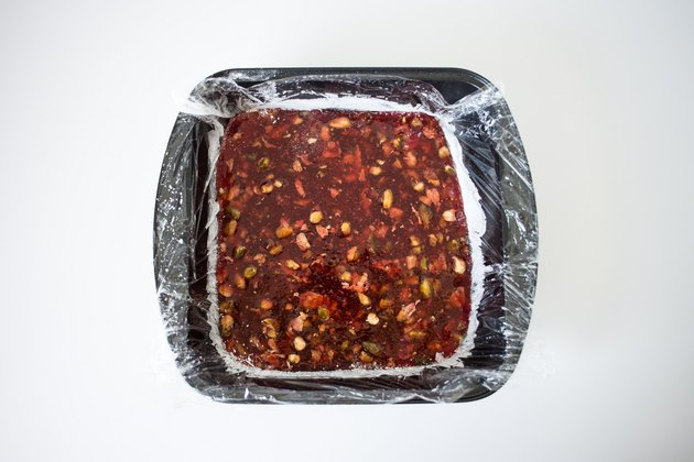 Mixture spread into a baking tin.