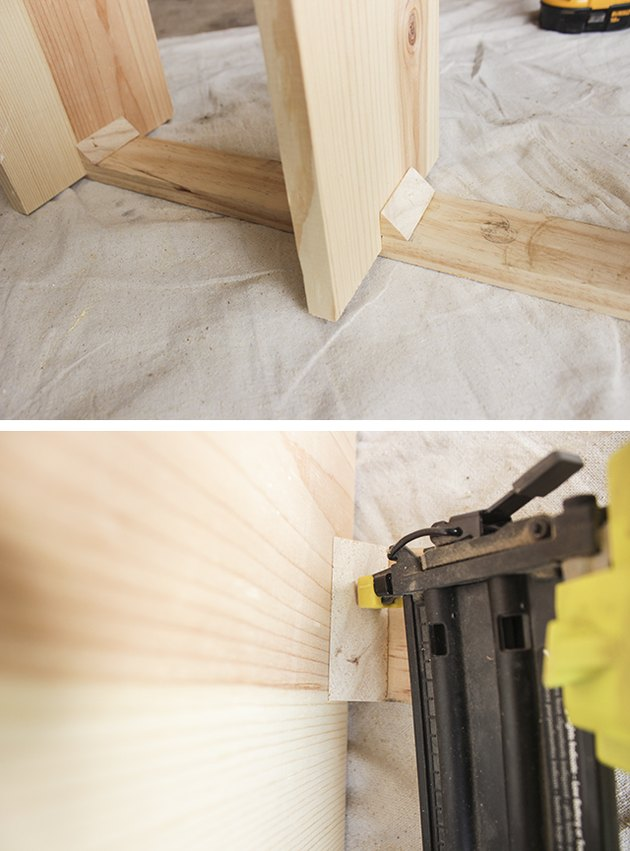 Attaching wooden shelf supports.